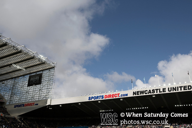 Newcastle United 1 Tottenham Hotspur 3 19/04/2015. St James Park, Premier League. Club and sponsors' names on the East Stand before Newcastle United host Tottenham Hotspurs in an English Premier League match at St. James' Park. The match was boycotted by a section of the home support critical of the role of owner Mike Ashley and sponsorship by a payday loan company. The match was won by Spurs by 3-1, watched by 47,427, the lowest league gate of the season at the stadium. Photo by Colin McPherson.