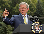 Camp David, MD - July 30, 2007 -- United States President George W. Bush participates in a Joint Press Availability with Gordon Brown, Prime Minister of the United Kingdom at Camp David, Maryland on Monday, July 30, 2007..Credit: Ron Sachs / Pool via CNP