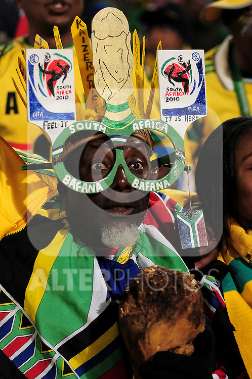 Fans get in the mood before  the 2010 World Cup Soccer match between South Africa and Uruguay played at Loftus Versveld Stadium in Pretoria South Africa on 16 June 2010.  Photo: Gerhard Steenkamp/Cleva Media