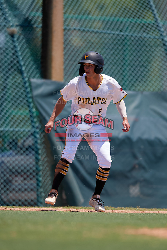 GCL Pirates Sammy Siani (5) leads off during a Gulf Coast League game against the GCL Braves on July 30, 2019 at Pirate City in Bradenton, Florida.  GCL Braves defeated the GCL Pirates 10-4.  (Mike Janes/Four Seam Images)