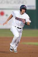 Cal Towey #13 of the Inland Empire 66ers runs the bases during a game against the Lancaster JetHawks at San Manuel Stadium on April 23, 2014 in San Bernardino, California. Inland Empire defeated Lancaster, 4-3. (Larry Goren/Four Seam Images)