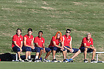 22 May 2014: U.S. Under-20 bench. From left: Travis Wannemuehler, Ian Harkes, Jacori Hayes, Jesus Vazquez, Andrija Novakovich, Caleb Duvernay. The Under-20 United States Men's National Team played a scrimmage against the Carolina RailHawks Under-23 team at Koka Booth Stadium at WakeMed Soccer Park in Cary, North Carolina. The United States Under-20s won the game 1-0.