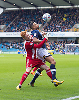 Millwall's James Meredith and Brentford John Egan during the Sky Bet Championship match between Millwall and Brentford at The Den, London, England on 10 March 2018. Photo by Andrew Aleksiejczuk / PRiME Media Images.