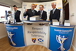 The Scottish Communities League Cup draw at Stenhousemuir..David Longmuir, Alex Salmond, David Thomson and Ross Mathie make the draw