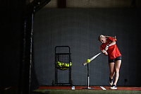 Carson Griggs, a senior at Farmington High School, connects Tuesday, June 23, 2020, with a ball off a tee during a workout session at The Warehouse, a softball-only training facility in Fayetteville. The facility was open to live hitting to clients with social-distancing requirements. Visit nwaonline.com/200624Daily/ for today's photo gallery.<br /> (NWA Democrat-Gazette/Andy Shupe)