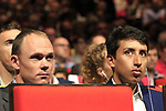 Chris Froome (GBR) and Egan Bernal (COL) at the Tour de France 2020 route presentation held in the Palais des Congrès de Paris (Porte Maillot), Paris, France. 15th October 2019.<br /> Picture: Eoin Clarke | Cyclefile<br /> <br /> All photos usage must carry mandatory copyright credit (© Cyclefile | Eoin Clarke)