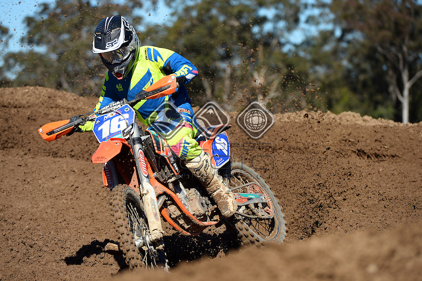 Kaleb Barham / KTM<br /> MX Nationals / Round 6 / MXD<br /> Australian Motocross Championships<br /> Raymond Terrace NSW<br /> Sunday 5 July 2015<br /> &copy; Sport the library / Jeff Crow