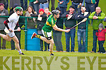 Colm Harty Kerry in action against Richie Hoban Kildare in the National Hurling League at Abbeydorney on Sunday.
