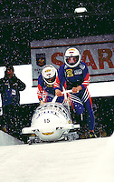 Russia-1 begins their start during the 2 man Bobsleigh World Cup in Park City Utah