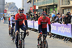 Marcel Sieberg (GER) and Sonny Colbrelli (ITA) Bahrain-Merida team arrive at sign on before the 2019 Gent-Wevelgem in Flanders Fields running 252km from Deinze to Wevelgem, Belgium. 31st March 2019.<br /> Picture: Eoin Clarke | Cyclefile<br /> <br /> All photos usage must carry mandatory copyright credit (© Cyclefile | Eoin Clarke)