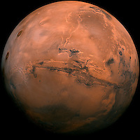 Mars,showing the large canyon, Valles Marineris