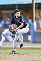Charleston RiverDogs starting pitcher Charlie Ruegger (26) delivers a pitch during a game against the Asheville Tourists at McCormick Field on August 16, 2019 in Asheville, North Carolina. The Tourists defeated the RiverDogs 12-3. (Tony Farlow/Four Seam Images)