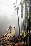 INDONESIA, Flores, Bernd Schwer stands for a portrait on a bamboo walking bridge on the way to Wae Rebo Village