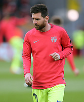 Barcelona's Lionel Messi during the pre-match warm-up <br /> <br /> Photographer Rich Linley/CameraSport<br /> <br /> UEFA Champions League Semi-Final 2nd Leg - Liverpool v Barcelona - Tuesday May 7th 2019 - Anfield - Liverpool<br />  <br /> World Copyright © 2018 CameraSport. All rights reserved. 43 Linden Ave. Countesthorpe. Leicester. England. LE8 5PG - Tel: +44 (0) 116 277 4147 - admin@camerasport.com - www.camerasport.com