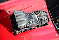 Sept. 28, 2012; Madison, IL, USA: Detailed view of the injector scoop blower and supercharger of an NHRA pro mod car during qualifying for the Midwest Nationals at Gateway Motorsports Park. Mandatory Credit: Mark J. Rebilas-