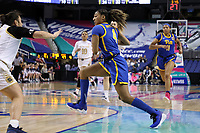 GREENSBORO, NC - MARCH 04: Emy Hayford #4 of the University of Pittsburgh drives the lane during a game between Pitt and Notre Dame at Greensboro Coliseum on March 04, 2020 in Greensboro, North Carolina.
