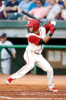 Chattanooga Lookouts second baseman Alex Perez (2) at bat during a game against the Pensacola Blue Wahoo on July 27, 2018 at AT&T Field in Chattanooga, Tennessee. (Andy Mitchell/Four Seam Images)