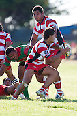 Augustine Pulu takes the option of run the ball out of defence. Counties Manukau Premier Club Rugby game bewtween Waiuk & Karaka played at Waiuku on Saturday April 11th, 2010..Karaka won the game 24 - 22 after leading 21 - 9 at halftime.