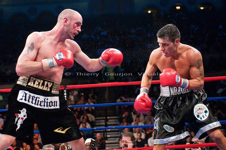 Atlantic City, NJ - 04.17.2010. Sergio Martinez and Kelly Pavlik in the ring during their WBC/WBO Middleweight championship fight at the Boardwalk Hall. Martinez won by unanimous decision, taking the belts away from Pavlik. Photo by Thierry Gourjon.