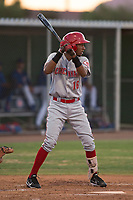AZL Reds shortstop Reyny Reyes (16) at bat during an Arizona League game against the AZL Cubs 2 at Sloan Park on June 18, 2018 in Mesa, Arizona. AZL Cubs 2 defeated the AZL Reds 4-3. (Zachary Lucy/Four Seam Images)