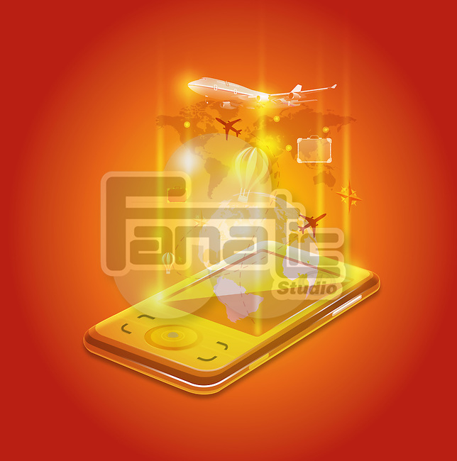 Illustrative image of mobile phone representing travel application