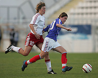 MAR 9, 2006: Faro, Portugal:  French midfielder (10) Camille Abily tries to get a shot off against Danish midfielder (10) Anne Nielsen at the Algarve Cup in Faro, Portugal. Mandatory Credit: Photo By Brad Smith-International Sports Images.
