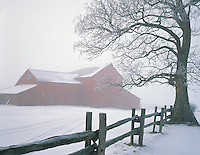 LaSalle County, IL<br /> Red barn and split rail fence in winter fog