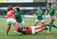 Ireland's Lindsay Peat scores hier sides first try<br /> <br /> Photographer Ian Cook/CameraSport<br /> <br /> Women's Six Nations Round 4 - Wales Women v Ireland Women - Saturday 11th March 2017 - Cardiff Arms Park - Cardiff<br /> <br /> World Copyright &copy; 2017 CameraSport. All rights reserved. 43 Linden Ave. Countesthorpe. Leicester. England. LE8 5PG - Tel: +44 (0) 116 277 4147 - admin@camerasport.com - www.camerasport.com