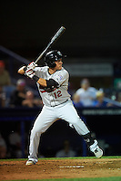 New Britain Rock Cats third baseman Pat Valaika (12) at bat during a game against the Reading Fightin Phils on August 7, 2015 at FirstEnergy Stadium in Reading, Pennsylvania.  Reading defeated New Britain 4-3 in ten innings.  (Mike Janes/Four Seam Images)