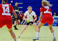 31 MAR 2010 - LONDON, GBR - Britains Lynn McCafferty (#7) looks for a route to goal during the Great Britain v Iceland 2010 European Womens Handball Championships qualifier .(PHOTO (C) NIGEL FARROW)
