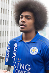 Leicester City's Hamza Dewan Choudhury speaks to the media in front of Hong Kong's urban landscape to celebrate the launch of the HKFC Citi Soccer Sevens 2017 on 25 May 2017 in Causeway Bay, Hong Kong, China. Photo by Chris Wong / Power Sport Images