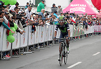 TUNJA - COLOMBIA- 21- 02-2016: Nairo Quintana a su llegada de la prueba ruta categoría Elite hombres con recorrido entre las ciudades de Sogamoso y Tunja en una distancia 174,6 km kilometros de Los Campeonato Nacionales de Ciclismo 2016, que se realizan en Boyaca. / Nairo Quintana at his upon arrival on the Elite test individual route men conducted  between the towns of Sogamoso and Tunja at a distance of 174,6 km of the National Cycling Championships 2016 performed in Boyaca. / Photo: VizzorImage / Cesar Melgarejo / Cont.
