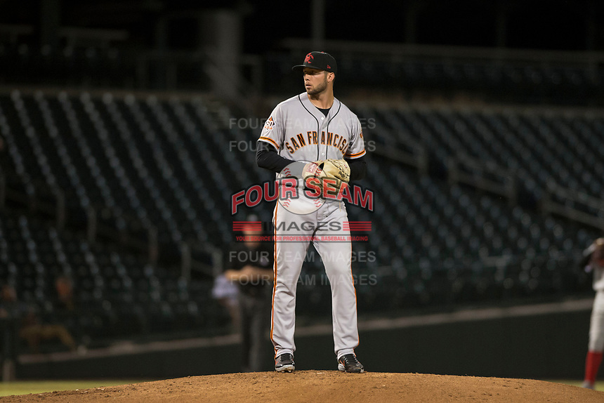 Scottsdale Scorpions starting pitcher Garrett Williams (39), of the San Francisco Giants organization, gets ready to deliver a pitch during an Arizona Fall League game against the Mesa Solar Sox at Sloan Park on October 10, 2018 in Mesa, Arizona. Scottsdale defeated Mesa 10-3. (Zachary Lucy/Four Seam Images)