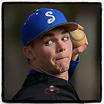 Pitcher Canaan Silver (15) of the Spartanburg Methodist College Pioneers delivers a pitch during Game 1 of a junior college season-opening doubleheader against the Patrick Henry Patriots on February 3, 2018, at Mooneyham Field in Spartanburg, South Carolina. (Tom Priddy/Four Seam Images)