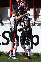 Akwasi Asante of Grimsby Town  scores the first goal of the game 0-1 to Grimsby Town and celebrates with Craig Disley of Grimsby Town <br /> during the Sky Bet League 2 match between Accrington Stanley and Grimsby Town at the Fraser Eagle Stadium, Accrington, England on 25 March 2017. Photo by Tony  KIPAX / PRiME Media Images.