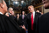 FEBRUARY 5, 2019 - WASHINGTON, DC: President Trump shook hands with Supreme Court Justice John Roberts after the State of the Union at the Capitol in Washington, DC on February 5, 2019. <br /> Credit: Doug Mills / Pool, via CNP