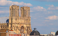 The cathedral in Reims over a rooftop roof top view, Reims, Champagne, Marne, Ardennes, France