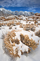 711700271 snow covers lone pine peak mount russel and mount whitney and the boulders and sagebrush in the alabama hills bureau of land management area in the eastern sierras near lone pine california