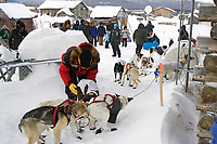 Kaltag residents watch as Doug Swingley beds down his dogs after his arrival 2006 Iditarod Western AK Winter
