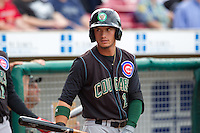 Kane County Cougars outfielder Albert Almora #2 looks on during a game against the Cedar Rapids Kernels at Veterans Memorial Stadium on June 8, 2013 in Cedar Rapids, Iowa. (Brace Hemmelgarn/Four Seam Images)