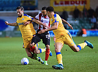 Lincoln City's Nathan Arnold gets between Chester's Lucas Dawson and Theo Vassell<br /> <br /> Photographer Andrew Vaughan/CameraSport<br /> <br /> Vanarama National League - Lincoln City v Chester - Tuesday 11th April 2017 - Sincil Bank - Lincoln<br /> <br /> World Copyright &copy; 2017 CameraSport. All rights reserved. 43 Linden Ave. Countesthorpe. Leicester. England. LE8 5PG - Tel: +44 (0) 116 277 4147 - admin@camerasport.com - www.camerasport.com