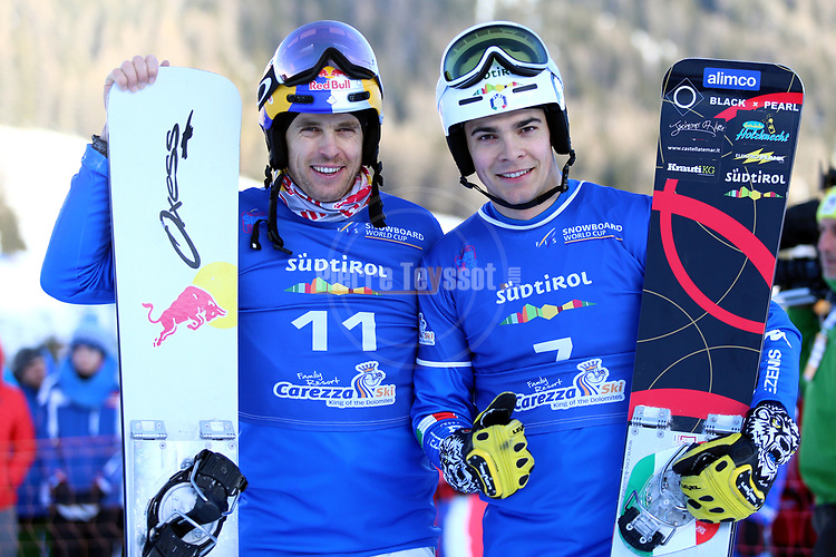 Snowboard World Cup 2018 FIS in Carezza, on December 14, 2017; Parallel Giant Slalom; Roland Fischnaller (ITA), Christoph Mick (ITA)<br /> &copy; Pierre Teyssot / Pentaphoto
