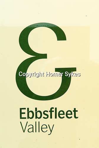 Ebbsfleet Valley sign logo Kent UK. Part of the proposed new Garden City