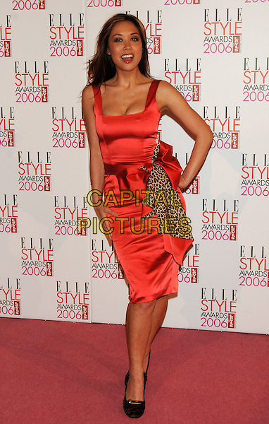 MYLEENE KLASS.Elle Style Awards 2006.The Old Truman Brewery, Brick Lane.London, England.20th February 20th, 2006..full length red orange satin dress leopard print bow shoes.Ref: PL.www.capitalpictures.com.sales@capitalpictures.com.©Phil Loftus/Capital Pictures.