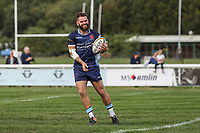 Ed Hoadley of London Scottish celebrates after he scores a try during the Greene King IPA Championship match between London Scottish Football Club and Ealing Trailfinders at Richmond Athletic Ground, Richmond, United Kingdom on 8 September 2018. Photo by David Horn.