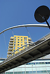 Crown Heights residential apartment development and adjacent bridge, Alencon Link, Basingstoke, Hampshire
