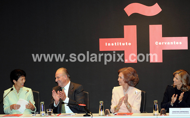 **ALL ROUND PICTURES FROM SOLARPIX.COM**.**WORDLWIDE SYNDICATION RIGHTS EXCEPT FOR SPAIN**NO PUBLICATION IN SPAIN**.Princess Takamado of Japan, King Juan Carlos and Queen Sofia of Spain at the inauguration of the Cervantes Institute in Tokyo, Japan. 12th November 2008..This pic: Princess Takamado, King Juan Carlos and Queen Sofia..JOB REF: 7870 PTG (CPicasso)    DATE: 12_11_2008.**MUST CREDIT SOLARPIX.COM OR DOUBLE FEE WILL BE CHARGED* *UNDER NO CIRCUMSTANCES IS THIS IMAGE TO BE REPRODUCED FOR ANY ONLINE EDITION WITHOUT PRIOR PERMISSION*