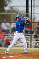 St. Petersburg Titans Jaider Morelos (4) at bat during a game against the Northwest Florida Raiders on January 31, 2020 at Lake Myrtle Sports Park in Auburndale, Florida.  Northwest Florida defeated St. Petersburg 5-1.  (Mike Janes/Four Seam Images)