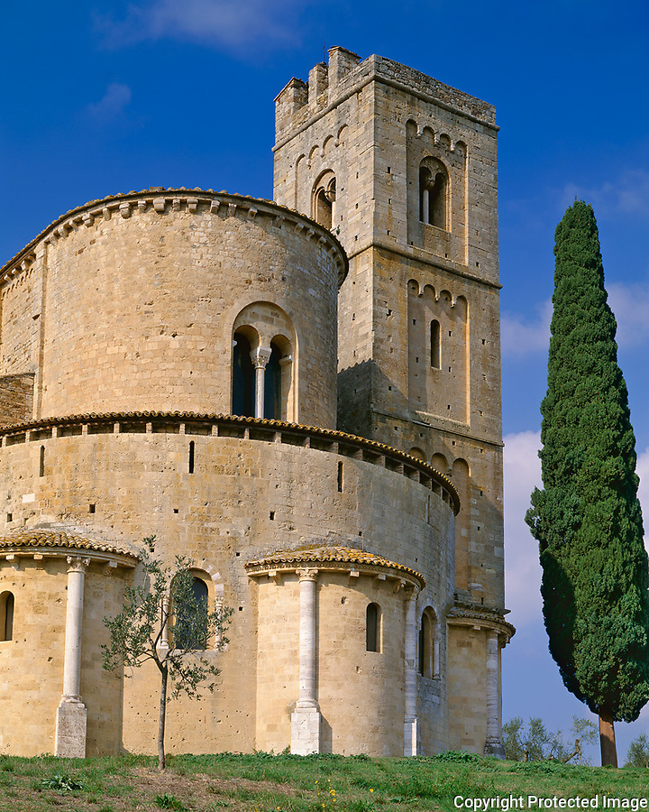 """Tuscany, Italy<br /> Abbazia di Sant'Antimo, a medieval abbey in the Val d""""Orcia near the village of Castelnuovo dell'Abate"""
