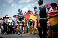 World Champion Alejandro Valverde (ESP/Movistar) up the Col du Galibier (HC/2622m/23km@5.1%)<br /> <br /> Stage 18: Embrun to Valloire (208km)<br /> 106th Tour de France 2019 (2.UWT)<br /> <br /> ©kramon